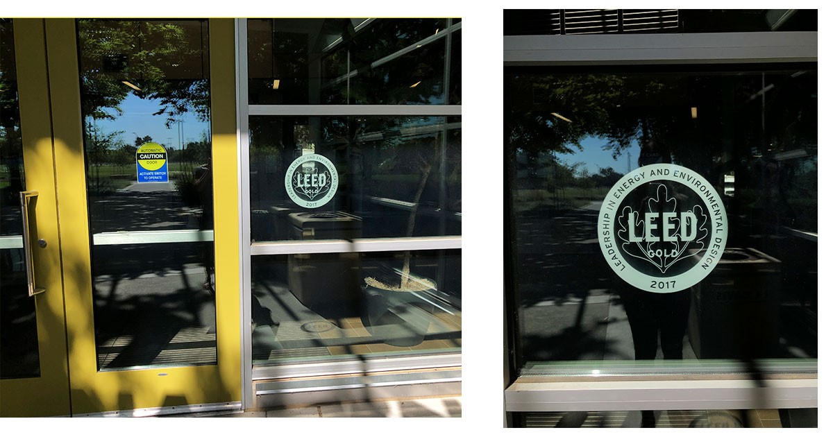LEED certification imprinted in the International Center's main entrance.