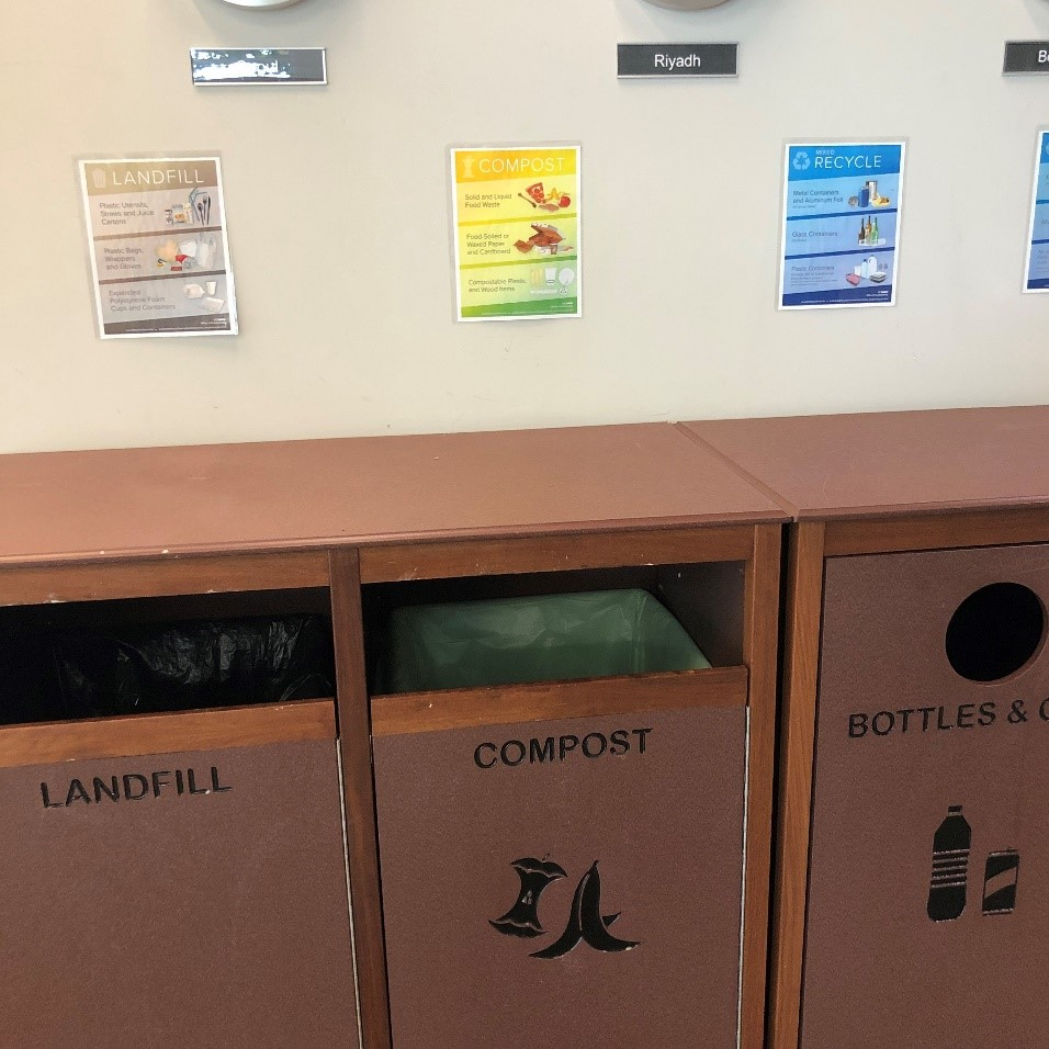 Trashbins with labels at the International Center