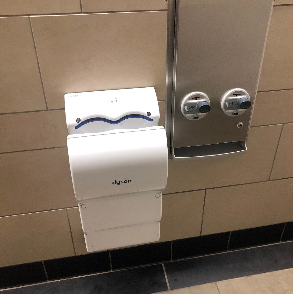 Hand dryer in the restrooms