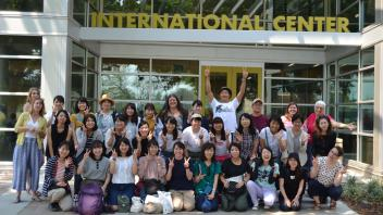 Group photo in front of the international center