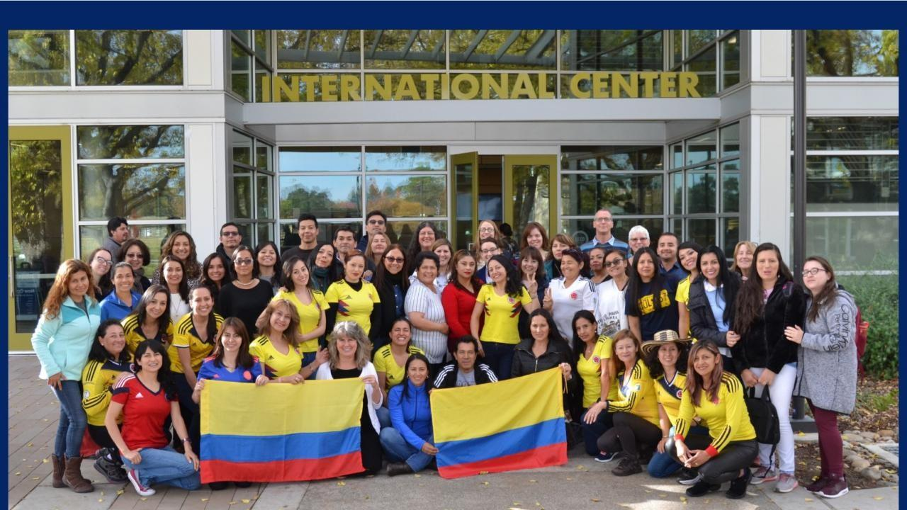 Colombia Fulbright teachers group photo in front of the UC Davis International Center