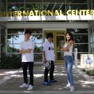 Destination Davis students from Tokyo posing in front of the International Center
