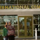 Students taking a selfie in front of the International Center