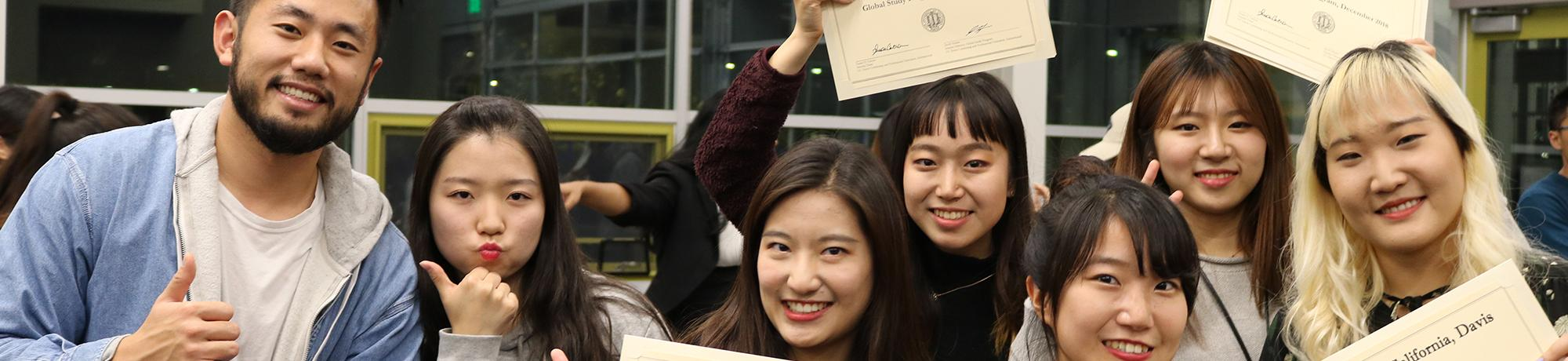 students with their certificates